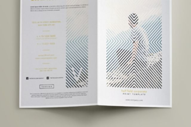 our vertigo bi fold brochure template is a very modern design with a