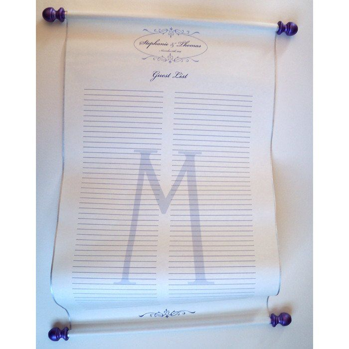 Guest list paper scroll with presentation box, 50-150 guests - wedding spreadsheet google docs