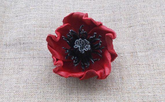 Poppy Lapel Pin Leather Brooch