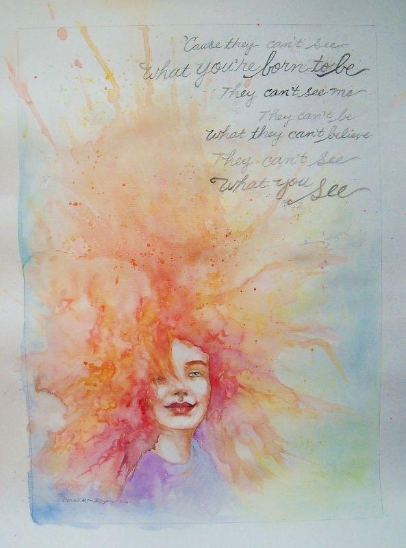 """Flying Dutchman"" (portrait of Tori Amos), watercolour and coloured pencil, by Bonnie Rose Bryan - www.BRBryan.com -  #tori  #toriamos"