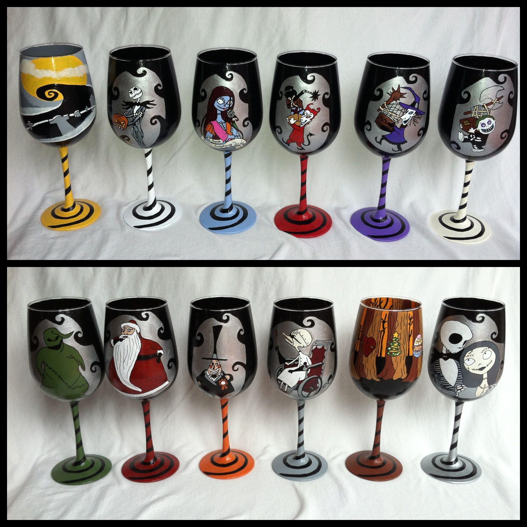 Custom order: Nightmare Before Christmas wine set | Halloween in ...