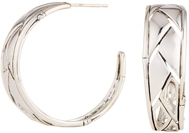 John Hardy Silver Bamboo Shoot Hoop Earrings 7eqqhXYT7