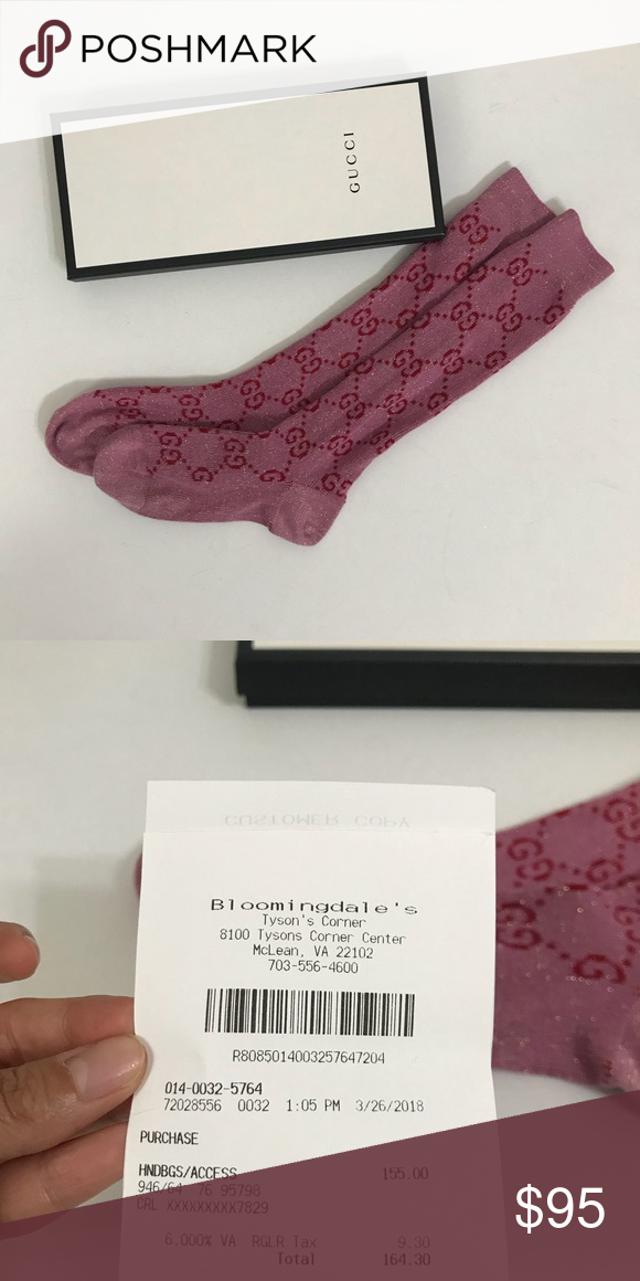 9fcd7854d51c38 Authentic Gucci GG Glitter Socks Size 9 In excellent condition. Minor  pilling on fabric. Worn and washed once. Comes with Gucci Box, shopping bag  and ...