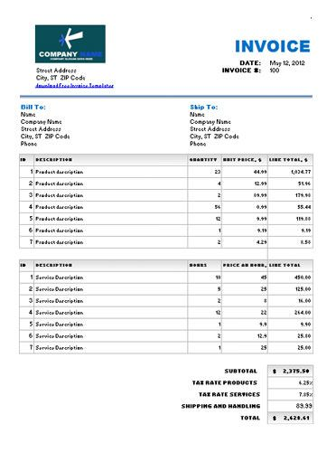 labor and product service invoice template with different tax rates