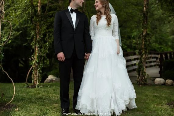 Modest Wedding Dress With Sleeves And French Lace Bodice English