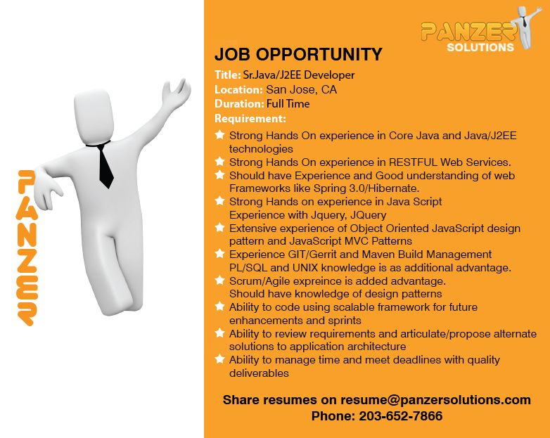 Job Title Sr. Java/J2EE Developer Location San Jose