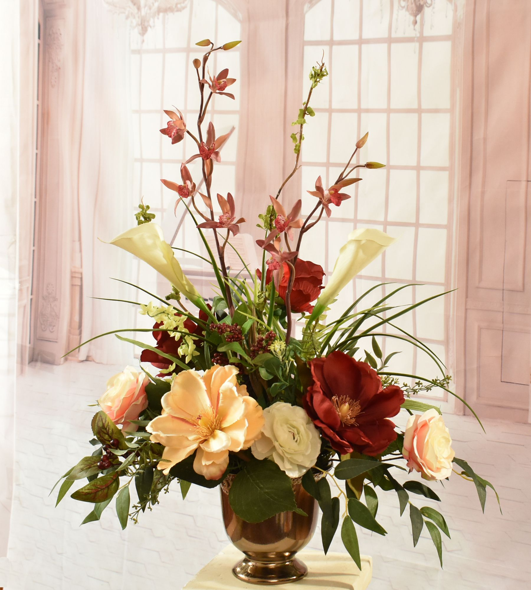 Magnolia Rose And Orchid Silk Flower Arrangement Ar411 Decorate Your Home Artificial Floral Arrangements Rose Flower Arrangements Fall Flower Arrangements