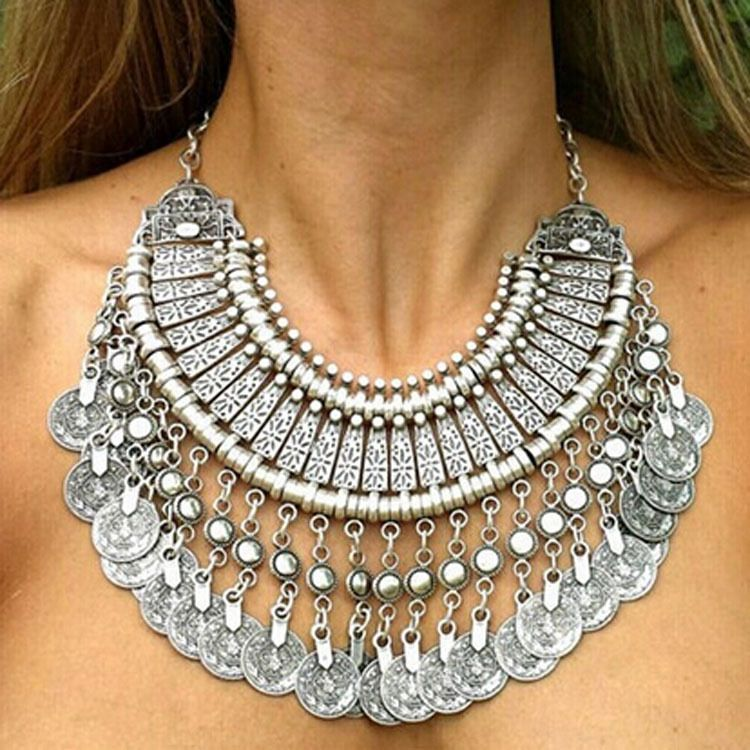 Tribal Coin and Tassel Statement Necklace