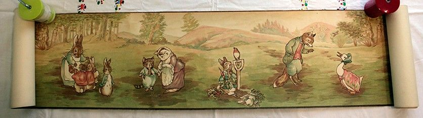 Antique 1920s beatrix potter peter rabbit nursery for Beatrix potter mural wallpaper