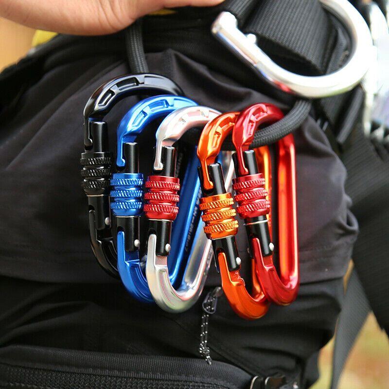 Black Screw Locking Climbing Carabiner Clip 25KN Heavy Duty D Ring Karabiner