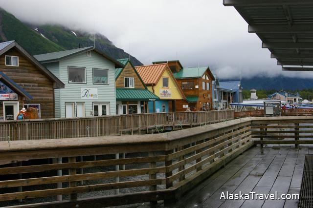 Back Of The Restaurants And S That Run Along Boardwalk In Seward Alaska