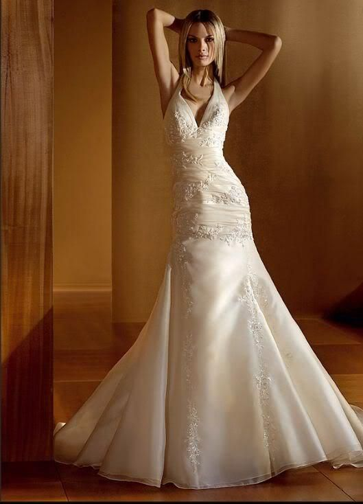 a line lace wedding dress with halter top get fit Pinterest