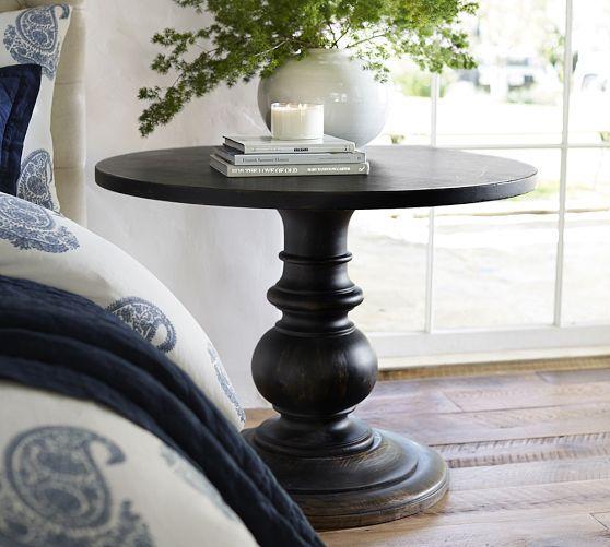 Dawson Round Wood Pedestal Table Pedestal Side Table Bedside Table Round Round Side Table