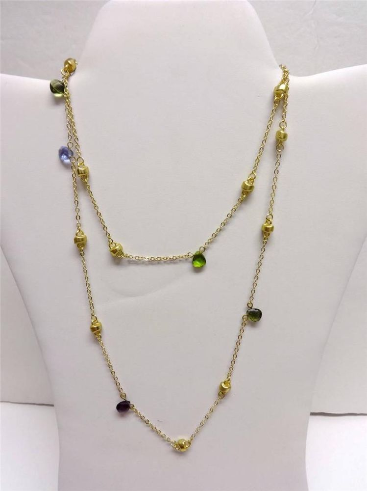 """MX Signature Collection 36"""" Multi Color Crystal Gold Tone Strand Necklace NWT #MXSignatureCollection #StrandString"""