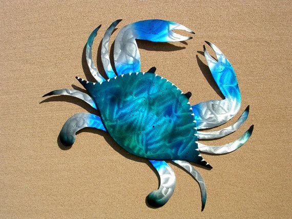 Crab Art Outdoor Metal Wall Sculpture Large Blue