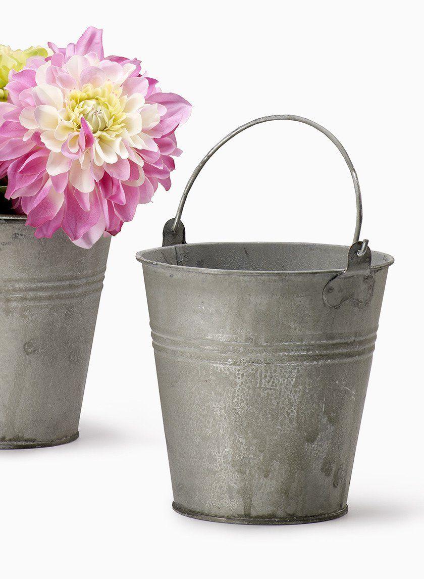 Antiqued Zinc Bucket Vintage Rustic Wedding Flower Centerpieces Vase  Outdoor Garden Party NYC Floral Supplies Containers