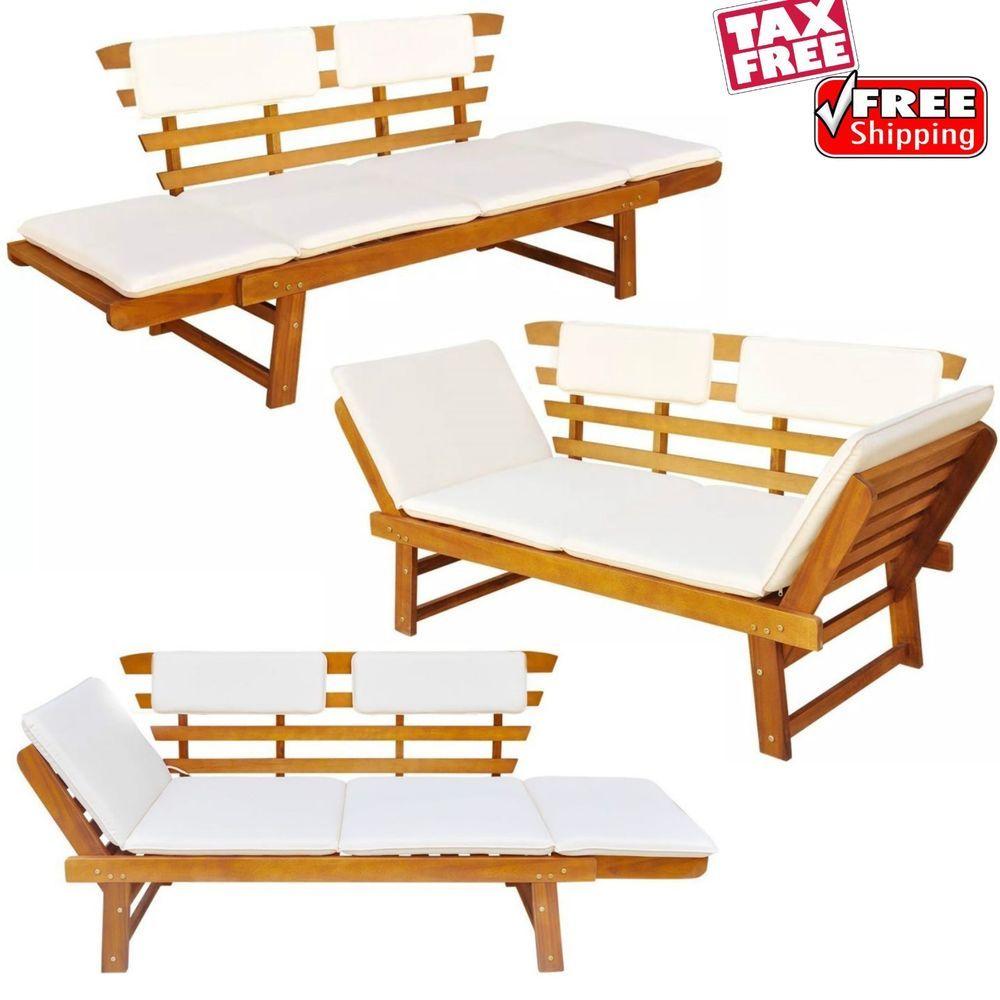 Groovy Patio Convertible Cushioned Loveseat Bench Porch Pool Garden Creativecarmelina Interior Chair Design Creativecarmelinacom