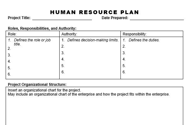 Human resource plan for Human resources strategic planning template
