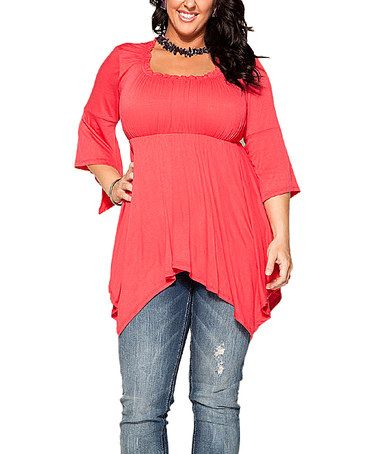 Another great find on #zulily! Coral Empire-Waist Handkerchief Top - Plus…
