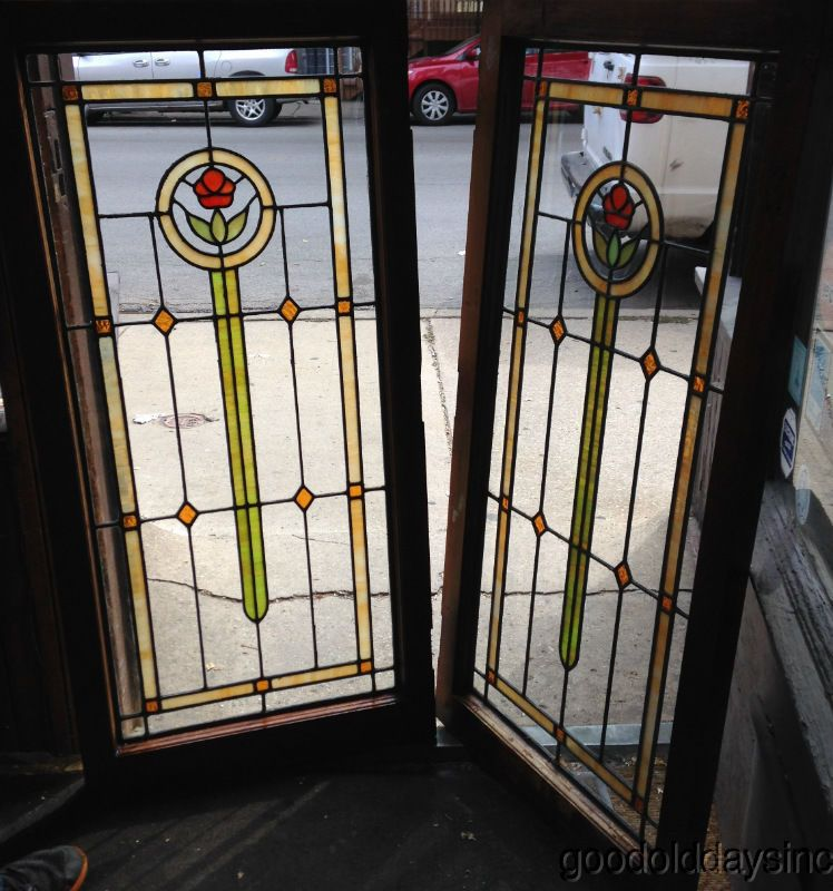 2 Antique Chicago Bungalow Stained Leaded Glass Door Window 1 Flower 47