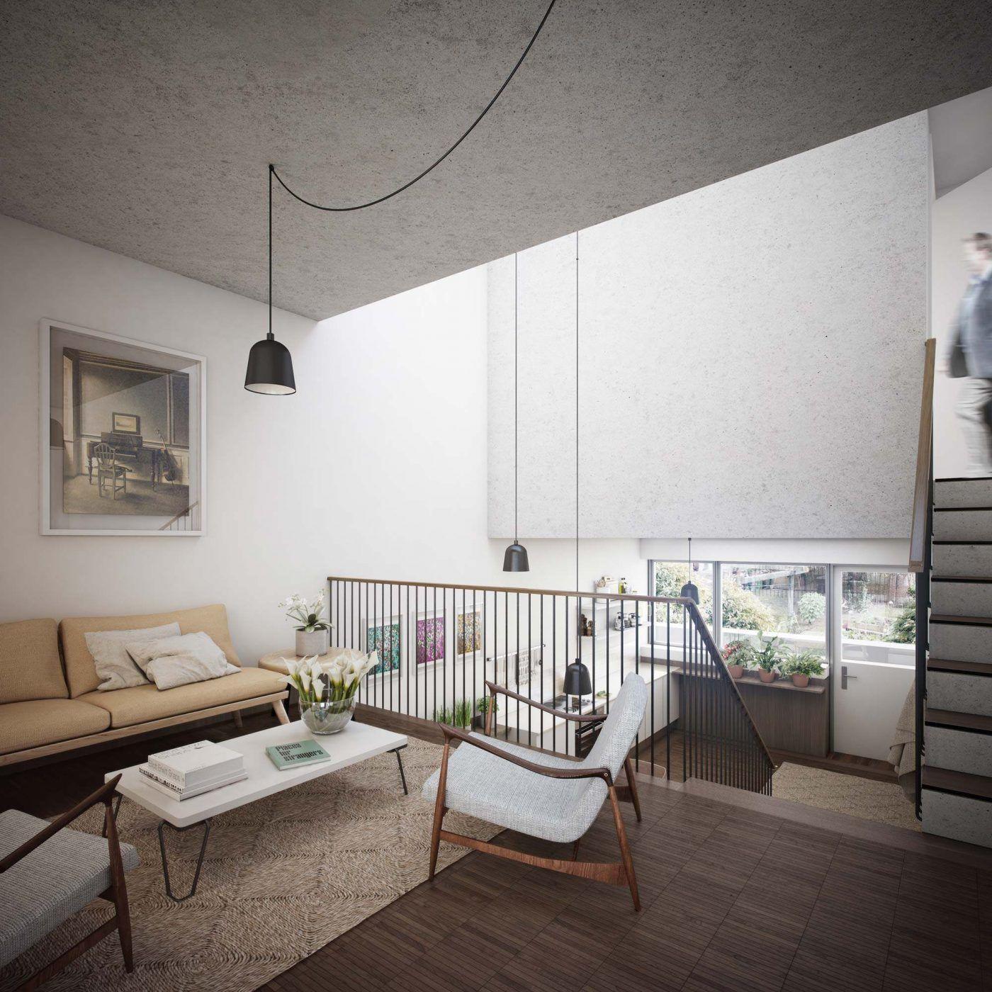 An interior shot, split-level living at Agar Grove, London ...