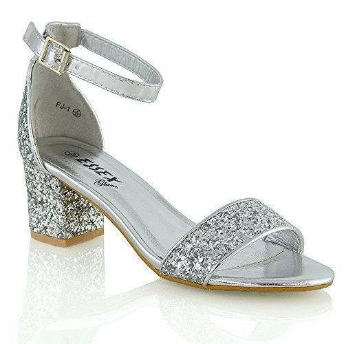 453a105a1fd Essex Glam Mid Low Heel Ankle Strap Synthetic Strappy Sandals 8 BM US  SILVER GLITTER     To view further for this item