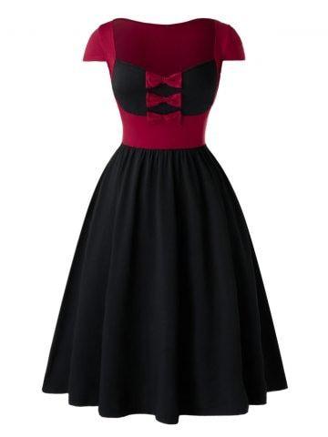 Plus Size Bowknot Two Tone Sweetheart Neck Vintage Dress Dresses For Apple Shape Plus Size Outfits Vintage Short Dress