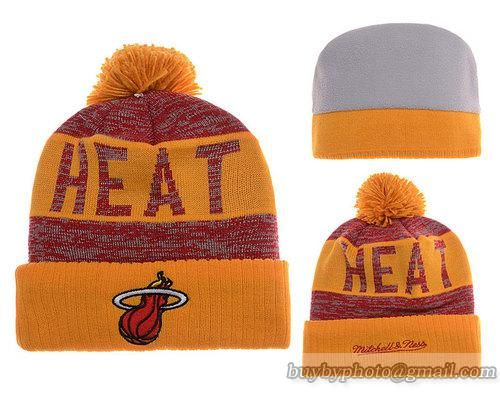 Mens   Womens Miami Heat Mitchell and Ness NBA Team Color Jacquard Stripe  Pom Knit Beanie Cap - Gold   Red e788e6d7e0