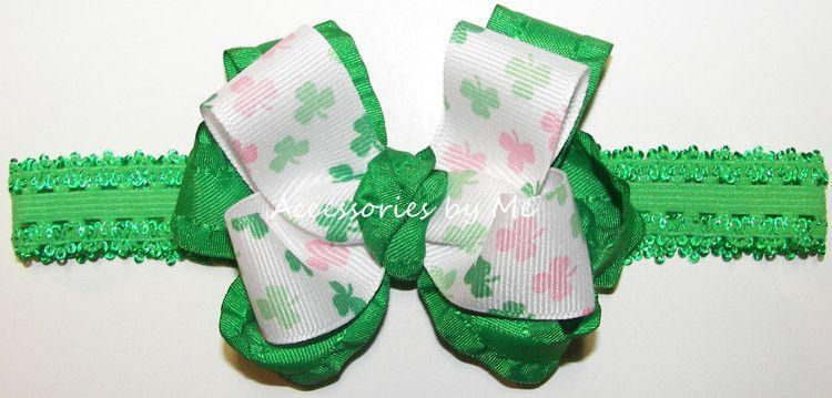 Frilly St. Patrick's Day Shamrock Ruffle Bow Lace Headband