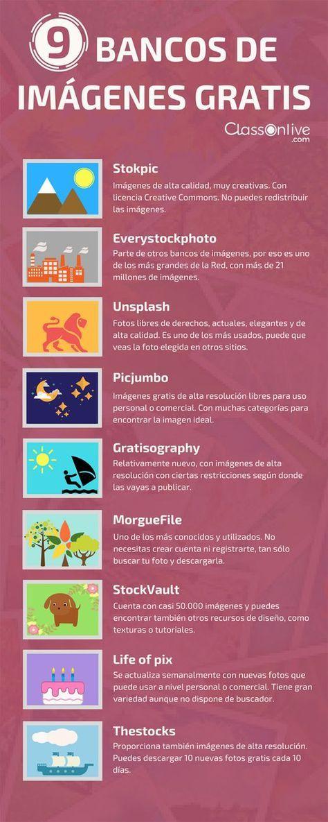 Hola: Una infografía con 9 bancos de imágenes gratis. Vía Un saludo