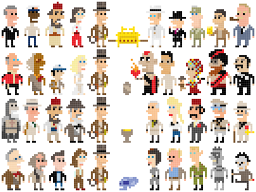 Indiana Jones 8 Bit Icons Ponto Cruz Artesanato Pontoes