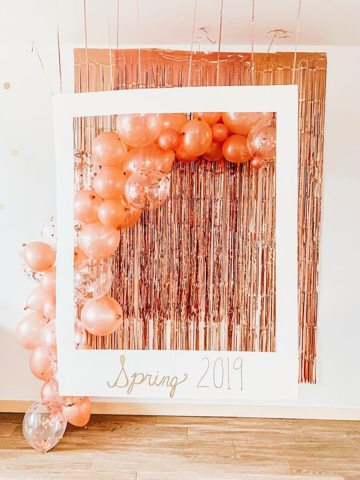 Balloon arc rose gold birthday party Instax decorations DIY