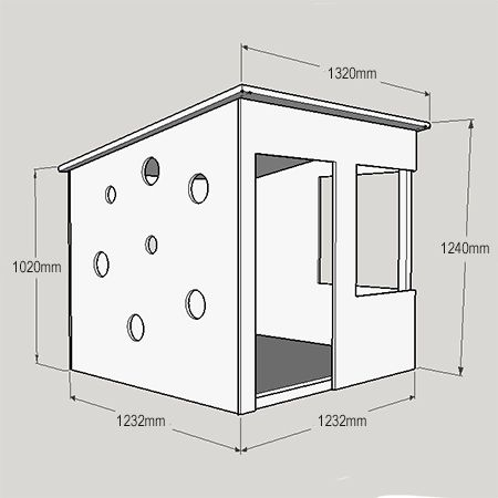 This modern playhouse is an easy DIY project using 16mm pine plywood