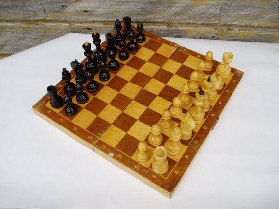Wooden Chess Set Vintage Complete Soviet Chess by MerilinsRetro, $44.00