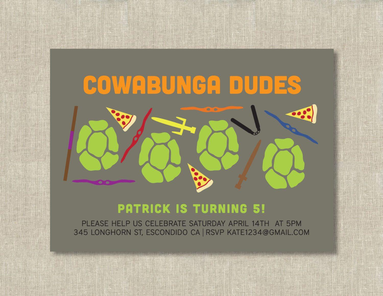 teenage mutant ninja turtle birthday party invitation by ...