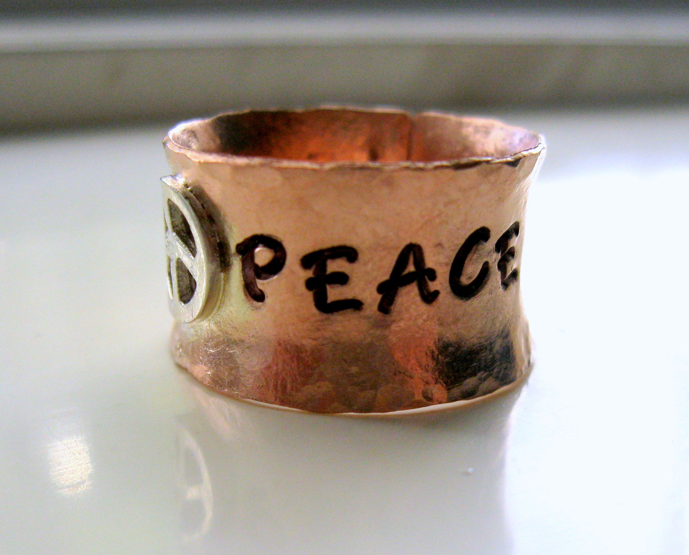 hammered cflt listing il coper sterling silver ring copper rings fullxfull