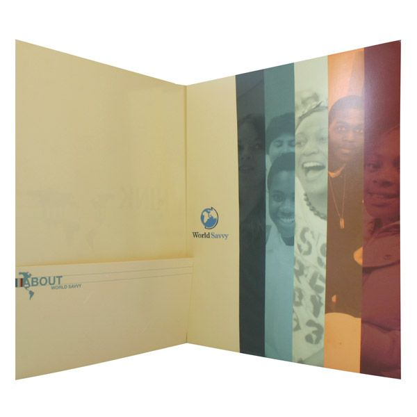 World Savvy Tri-Fold Pocket Folder (Inside Panel View) Brochures - leather resume folder
