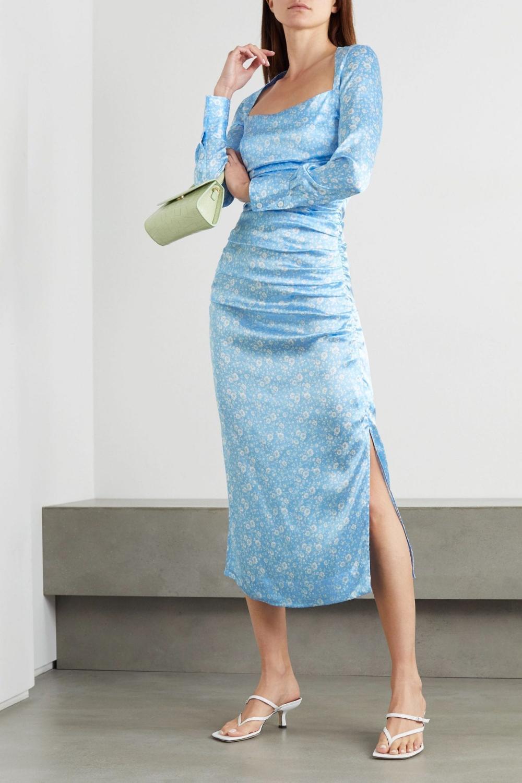 Ganni Ruched Floral Print Stretch Silk Satin Midi Dress We Select Dresses Satin Midi Dress Satin Dress Long Silk Dress Sleeve [ 1500 x 1000 Pixel ]