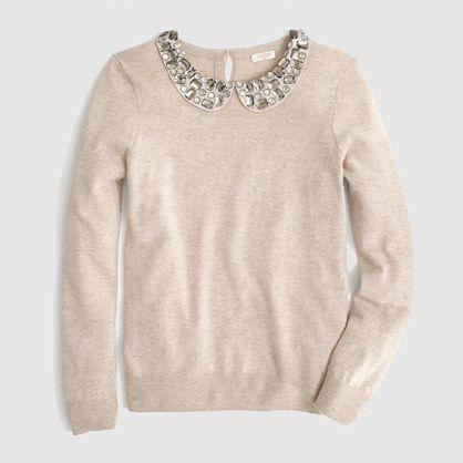 jeweled Peter Pan collar sweater   FactoryWomen Pullovers  418a40022
