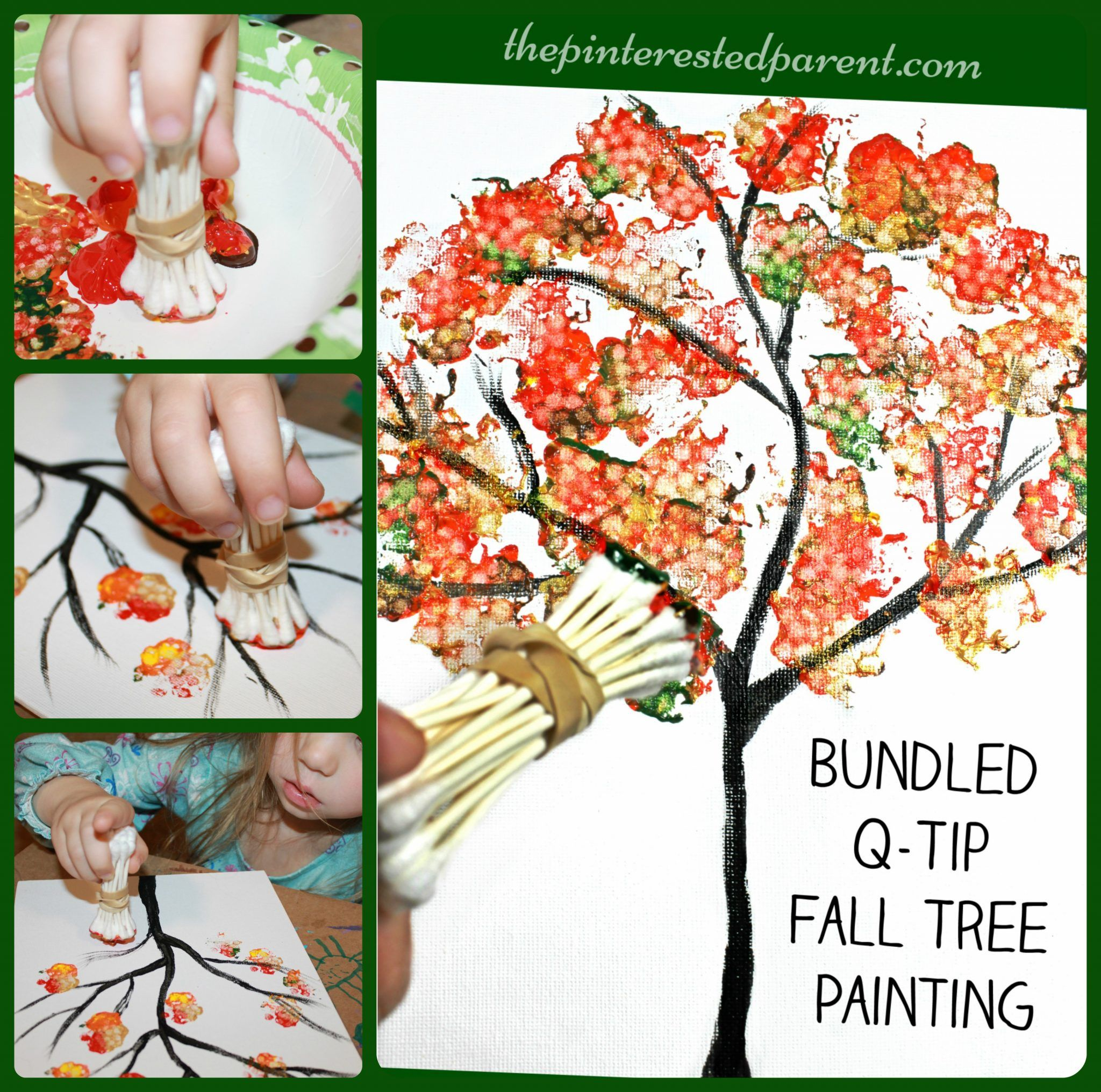 fall tree painted with bundled q tips autumn arts & craft