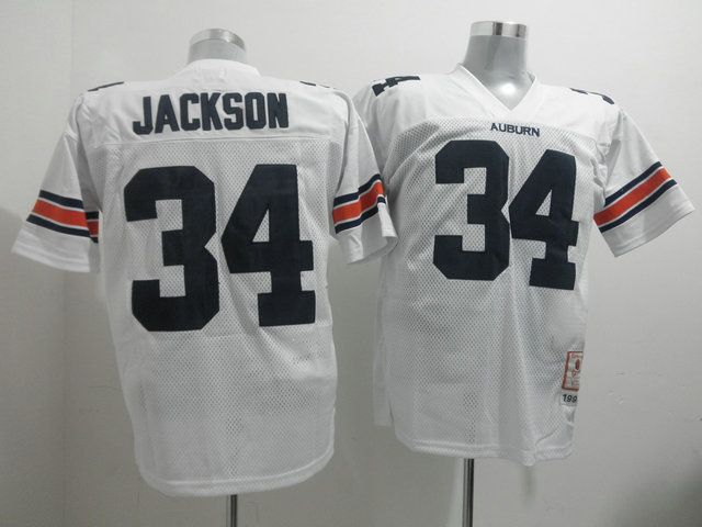 hot sales 19525 7c86c Tigers #34 Bo Jackson White Throwback Stitched NCAA Jersey ...