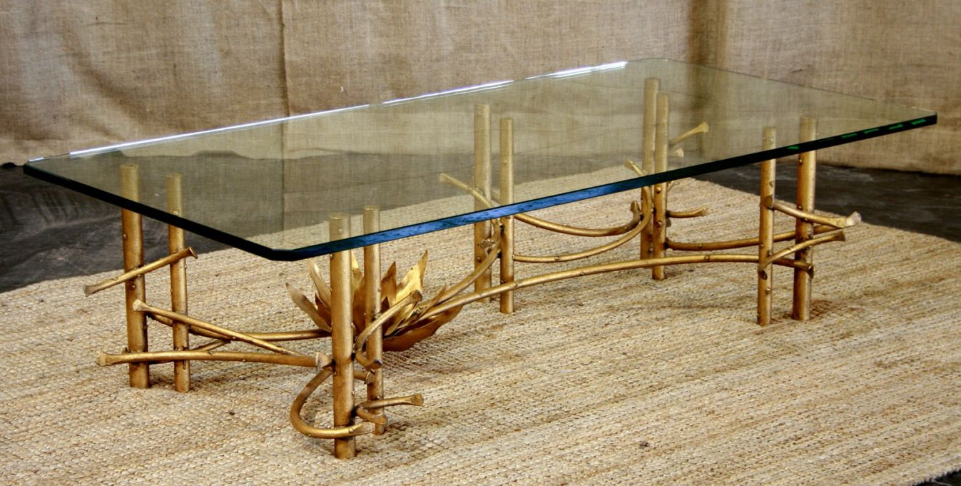 Gold Bamboo Gl Coffee Table Contemporary Modern Furniture
