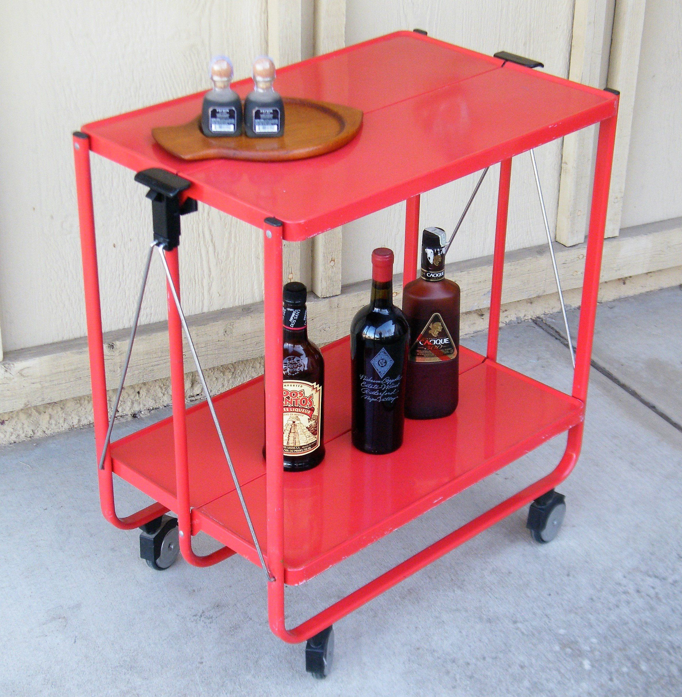 Folding Service Cart Trolley By Louis Lucien Lepoix For Frz Germany Vintage Bar Cart Rolling Liquor Cart By Vintage Bar Carts Folding Trolley Liquor Cart