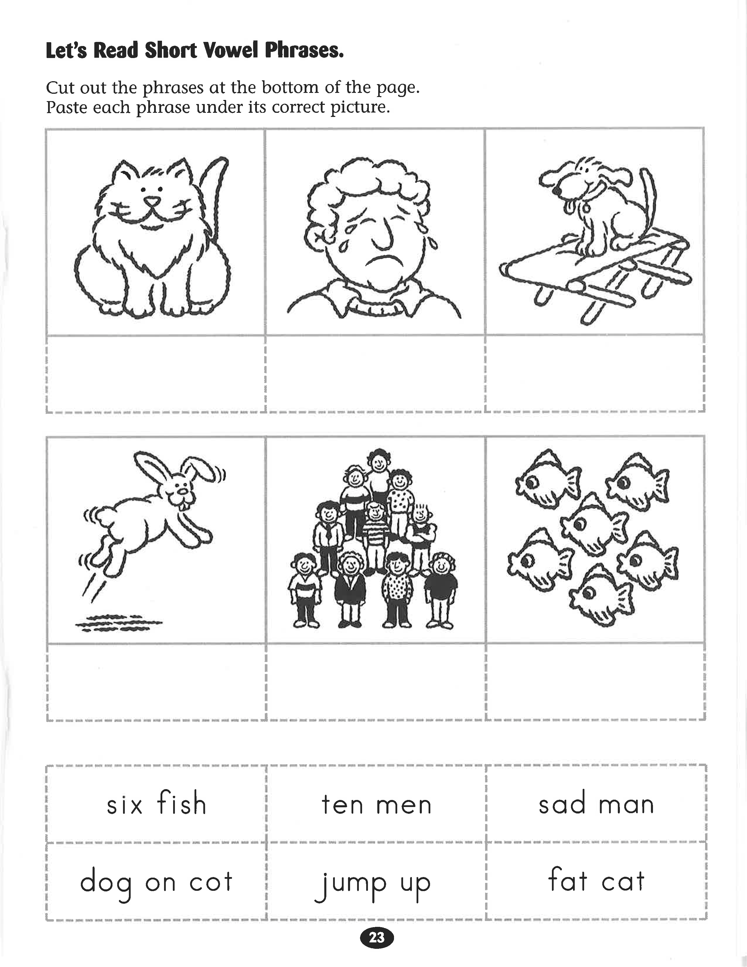 Let S Read Short Vowel Phrases Worksheet