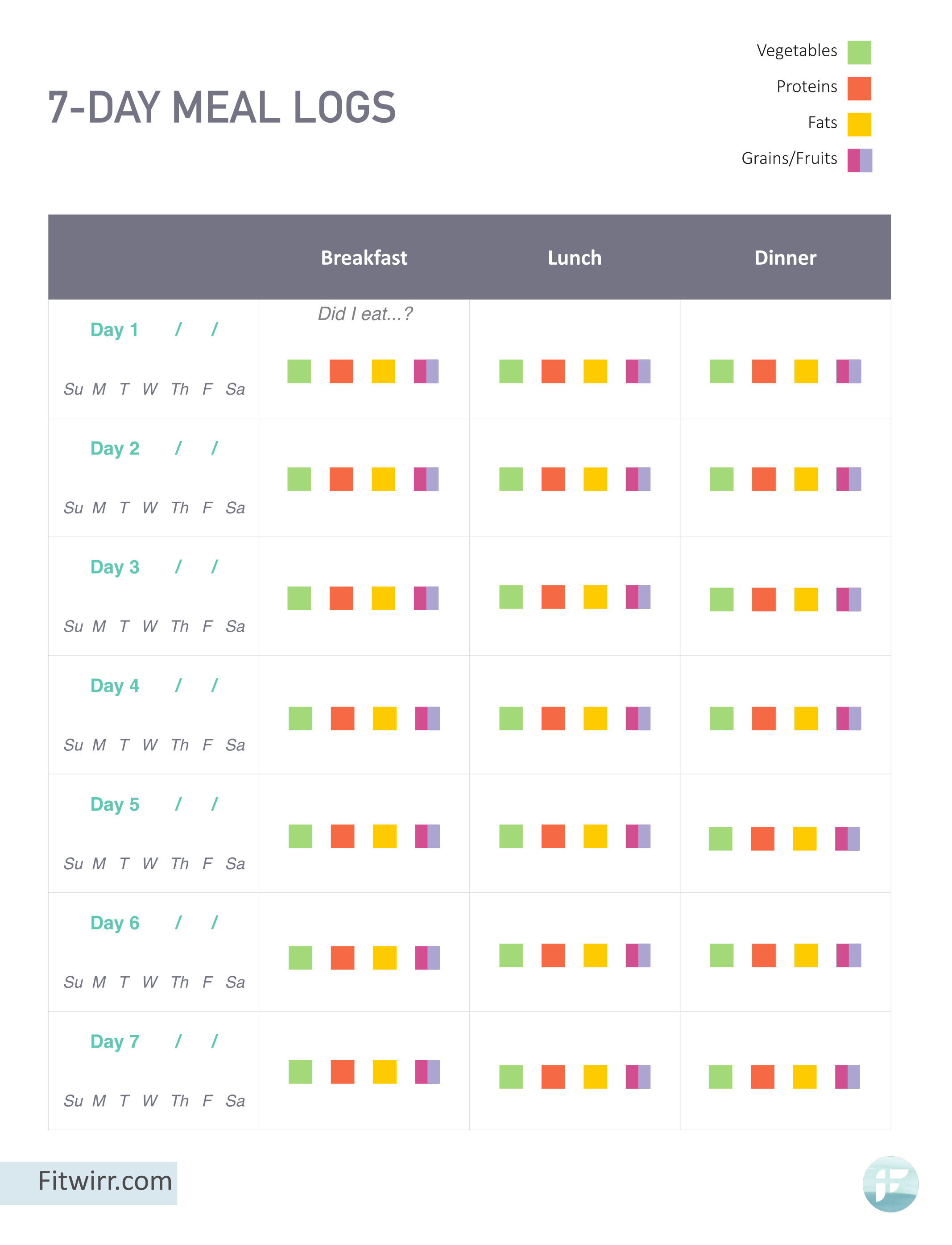 Meal Planning Template For Weight Loss Weightloss
