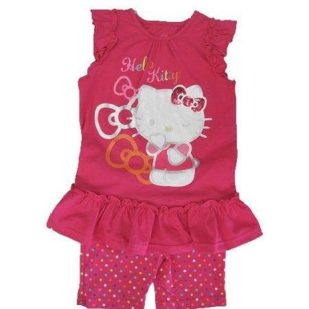 55c8a44e1c880 Hello Kitty Little Girls Fuchsia Ruffle Applique Dot 2 Pc Shorts Set 4-6X