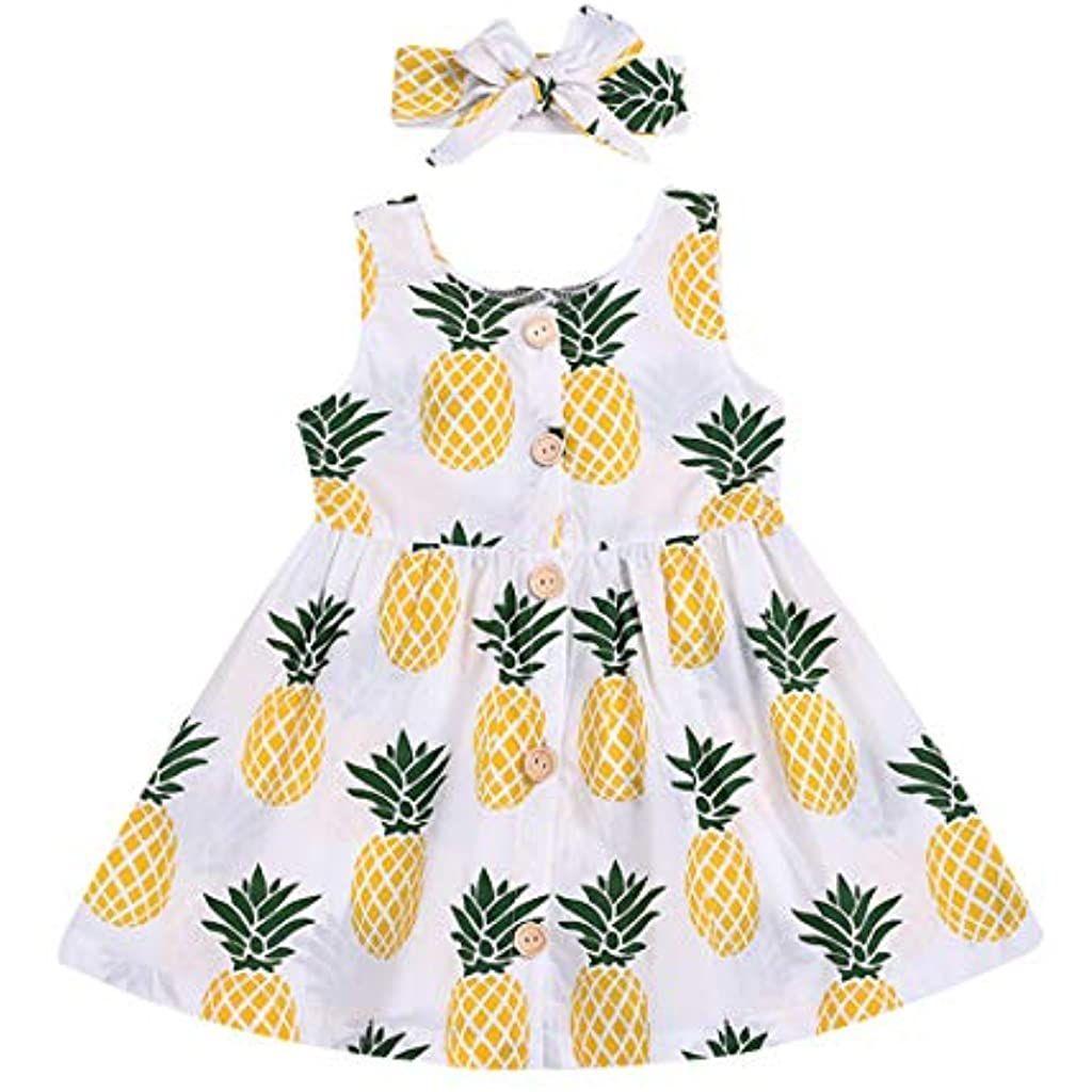 Stirnband Set Baby M/ädchen Kleid mit Obst Blumen Bedruckte KIMODO Kleinkind /Ärmellos Urlaub Sommer Strandkleid Party Prinzessin Kleidung Outfit