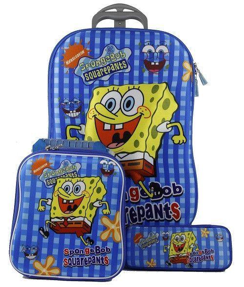 Sponge Bob Square Pants Wheeled Bag 3D Trolley Travel