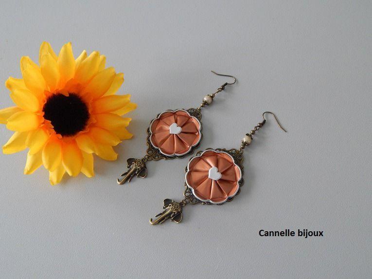 Boucles D Oreilles Bronze Et Pendentif Capsule Fleur Rose Et Coeur
