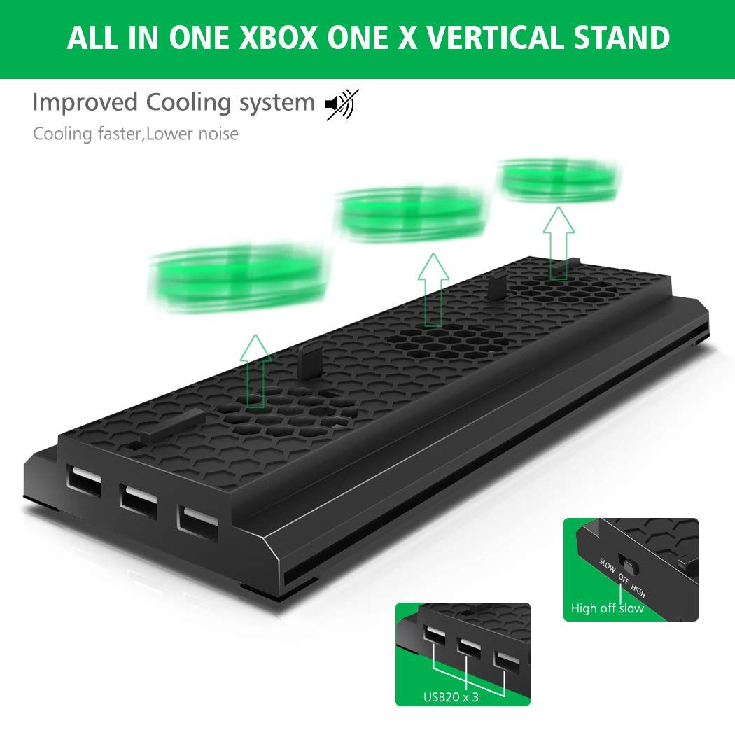 Oivo Vertical Stand Compatible With Xbox One X Cooling Fan